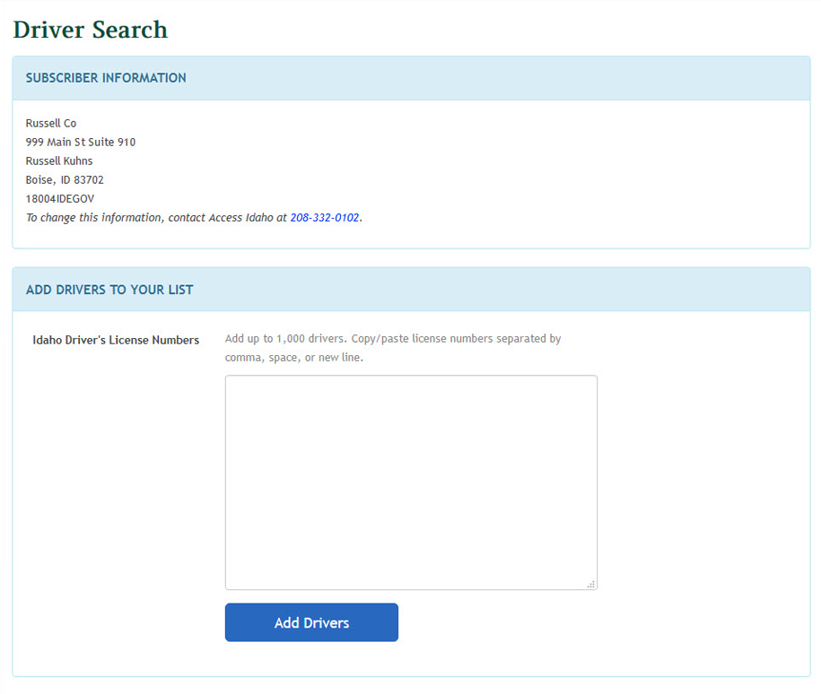 Example driver search